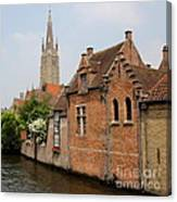 Bruges Houses With Bell Tower Canvas Print
