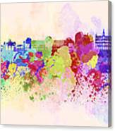 Brussels Skyline In Watercolor Background Canvas Print