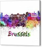 Brussels Skyline In Watercolor Canvas Print