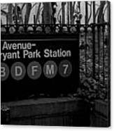 Bryant Park Station Canvas Print