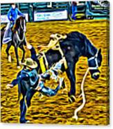 Bucked Off Proper Canvas Print