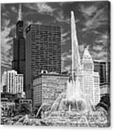 Buckingham Fountain Sears Tower Black And White Canvas Print