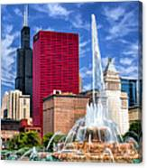 Buckingham Fountain Sears Tower Canvas Print