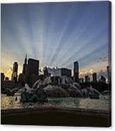 Buckingham Fountain With Rays Of Sunlight Canvas Print
