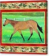 Buckskin Quarter Horse Christmas Card Canvas Print