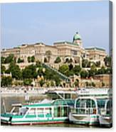 Buda Castle And Boats On Danube River Canvas Print