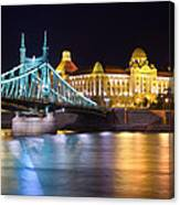 Budapest Night Bridge Canvas Print
