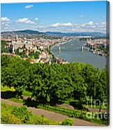 Budapest Panoramic View From The Gellert Hill With Danube River Canvas Print