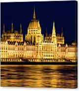 Budapest Parliament At Night Canvas Print