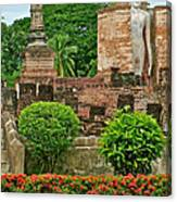Buddhas In Wat Mahathat In 13th Century Sukhothai Historical Park-thailand Canvas Print