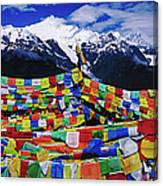 Buddhist Prayer Flags With Meili Canvas Print