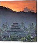 Buddhist Temple At Sunset Canvas Print