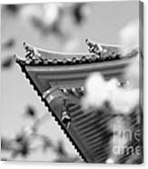 Buddhist Temple In Black And White - Roof Tile Details Canvas Print