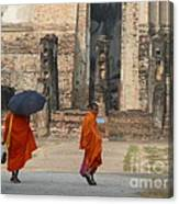 Buddist Monks Visiting Sukhothia Canvas Print