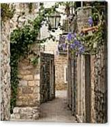 Budva Old Town Cobbled Street In Montenegro Canvas Print