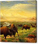 Buffalo Fox Great Plains Western Landscape Oil Painting - Bison - Americana - Historic - Walt Curlee Canvas Print