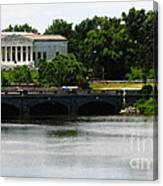 Buffalo History Museum And Delaware Park Hoyt Lake Oil Painting Effect. Canvas Print