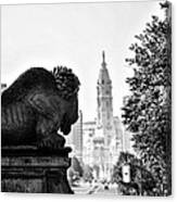 Buffalo Statue On The Parkway Canvas Print