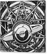Buick Skylark Wheel Black And White Canvas Print