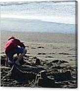 Building A Sand Castle  Canvas Print