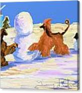 Building A Snowman Canvas Print