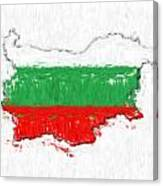 Bulgaria Painted Flag Map Canvas Print