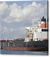 Bulk Cargo Ship Arriving At Port. Canvas Print