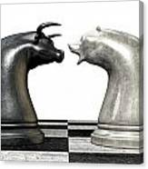 Bull And Bear Market Trend Chess Pieces Canvas Print