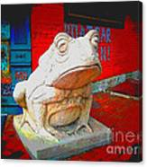 Bull Frog Painted Canvas Print