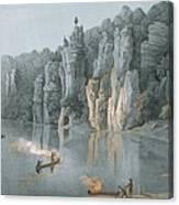 Bullard Rock On The New River Canvas Print