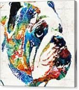 Bulldog Pop Art - How Bout A Kiss - By Sharon Cummings Canvas Print