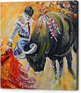 Bullfighting In Neon Light 02 Canvas Print