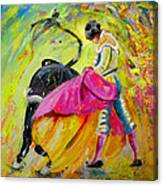 Bullfighting In Neon Light 01 Canvas Print