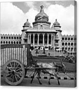 Bullock Cart And Building Canvas Print