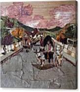Bullock Cart On Bridge Canvas Print
