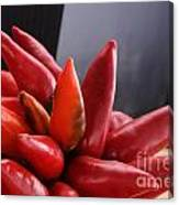 Bunch Of Red Chili On Black Canvas Print