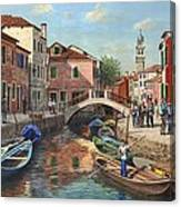 Burano Canal Venice Canvas Print