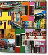 Burano Italy Collage Canvas Print