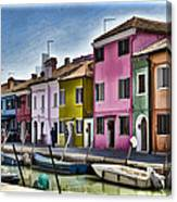 Burano Italy - Colorful Homes Canvas Print