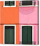 Burano Pink And Orange Canvas Print