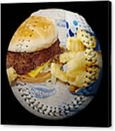 Burger And Fries Baseball Square Canvas Print