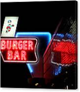 Burger Bar Neon Diner Sign At Night Canvas Print