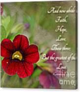 Burgundy Calibrochoa Greeting Card With Verse Canvas Print
