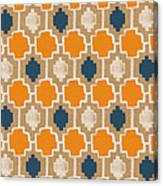 Burlap Blue And Orange Design Canvas Print