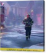 Burlingame Firemen On The Scene Of A House Fire Canvas Print