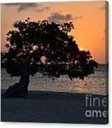 Burning Beach Sunset Canvas Print