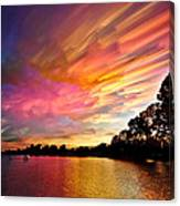 Burning Cotton Candy Flying Through The Sky Canvas Print