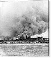 Burning Of The Breakers Hotel Canvas Print