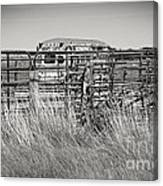 Bus Stop On Route 66 In Oklahoma In Black And White Canvas Print