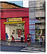 Bus Stop On Rua Teodoro Sampaio Canvas Print